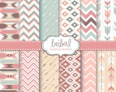12 Tribal Digital Scrapbook Paper pack, Ikat, geometric pattern, native Indian, Navajo, Aztec, arrows, Personal and Small Commercial use