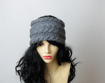 Knitted Grey Cabled Headbands Earwarmers GRAY Winter Accessories Headcovers Womens Girls Headwraps