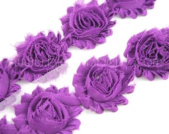 """2.5""""  Shabby Rose Trim- Egg Plant Color- Shabby Rose Trim - Purple Egg Plant Shabby Rose Trim -Hair Accessories Supplies"""