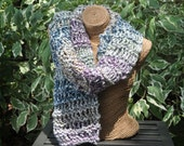 Purple and Blue, Open Weave, Drop Stitch Scarf or Wrap