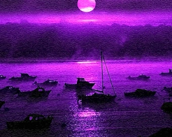 Boats by Moonlight Instant Digital Download Art Print Paper Canvas Transfer