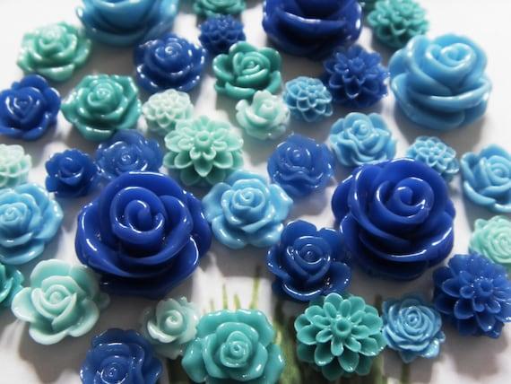 50pc Resin Cabochons Flat Back Resin Roses & Mums Cabochon, Bobby Pins, Flower Rings, Pendants, Earrings