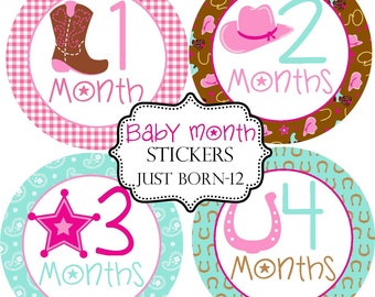 Girls Cowgirl, Monthly Baby Stickers Make Great Baby Shower Gifts..Bonus Just Born Sticker Included