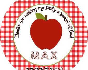 Apple Red Round Labels Stickers for use as Gift Tags, Party Favors, or Round Address Labels