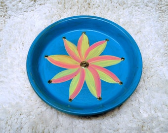 Large 6.5 inch Hand Painted Terra Cotta Dish in Turquoise with Yellow and Pink Flower Perfect for Jewelry Keys and Change