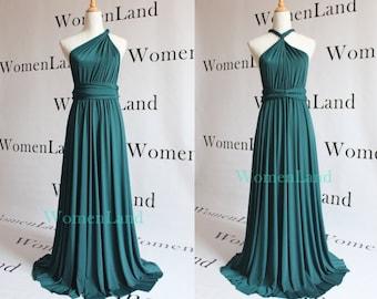 WomenLand ~ Dark Teal Green Full Length Elegant Infinity Multi Convertible Women Evening Wedding Bridesmaid Dress Tailor Made Long Dresses