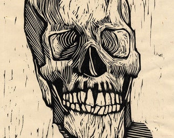 Hand-Pulled Woodcut Skull no. 13