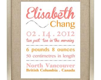 Digital Printable Birth Announcement Print - Birth Announcement Wall Art - Digital File ONLY