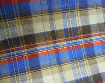 Blue & Brown Plaid Fabric, Vintage Red, Blue, and Tan Stripes, 1970s Cotton Sewing and Crafting Material #125