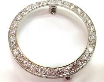 DIAMOND CIRCLE PIN 14k White Gold  Inset Diamonds Classic Style