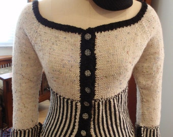 Corset Waist Hand Knit Cardigan Night Circus Victorian Vintage Style Bohemain Steampunk Paris Goth
