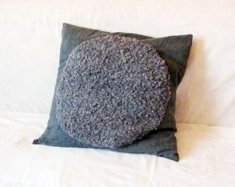 Decorative pillow cover 18 x 18, grey wool and bouckle knit fabric. Upcycled recycled repurposed, OOAK. Soft and cuddly. Hygge Scandi style.