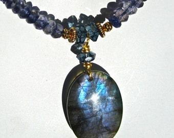 Blue Labradorite Necklace, Big Labradorite Pendant, Iolite Water Sapphires, Natural Stone, Semi Precious, Gift for Her