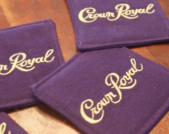 Crown Royal Coasters, Set of 4, Made from genuine Crown Royal Bags, Gifts for Him, Gifts under 20, Gifts For Him, Groomsmen Gifts, Man Cave
