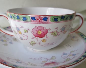 1800s S.W.Dean, Burslem Hand Decorated China Creme Soup Cup/Saucer. Housewarming Gift, Get Well Gift, Father's Day Gift, Hostess Gift