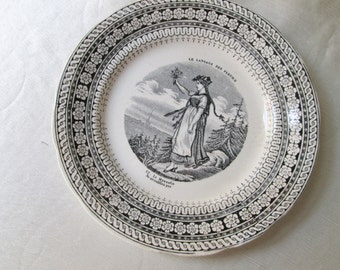 1840s French Black Transfer on Off-White Porcelain Display Plate. Housewarming Gift,Wedding Gift, Get Well Gift, COLLECTIBLE