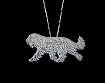 Briard (natural ears) movement - sterling silver pendant and necklace