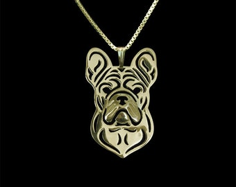 French Bulldog jewelry - Gold pendant and necklace
