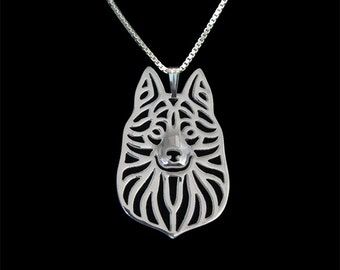 Schipperke jewelry - sterling silver pendant and necklace.