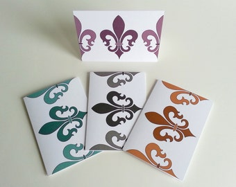 Fleur De Lis Stationery Set Louisiana Fleur Card Stylized Lily Iris Greeting Card Symbol of France Neutral Color Fleur Motif Patterned Cards