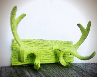 BOLD rustic modern cast iron deer antler wall hook // coat rack towel hook // chartreuse lime green // shabby cabin cottage chic