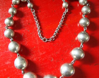 Sale//1920's 1930's Vintage Native American Huge Silver Bead Necklace Heavy Link Chain Navajo Pearls
