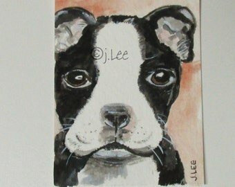 Boxer Bulldog Puppy Black & White ACEO Miniature Original painting