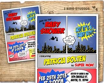 Superhero baby shower invitation - Superhero invitation - boy baby shower invite- couples shower - coed baby shower - super hero