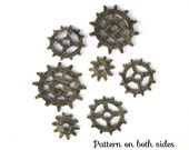 Acrylic Charms Gears Steampunk Gray Brick Pattern Components for Jewelry and Embellishing A1024