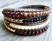 Beaded Leather Wrap Bracelet 4 Wrap with Garnet Red Gold Black and Champagne Czech Glass Beads on Natural Brown Leather