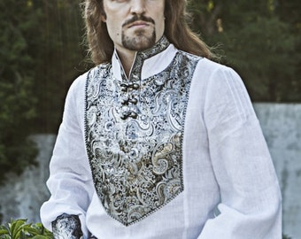 Wedding Medieval Mens Tunic with Brocade Accents