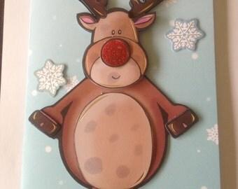 christmas card, childrens card, reindeer,robin, snowflake, happy christmas, reindeer card