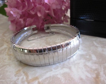 SALE Vintage DESIGNER MONET Silver Hinged Bracelet, Designer Monet with Safety Clasp, Gift for Her, Anniversary, Birthday