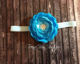 Turquoise Peony Flower Headband- newborn headband- infant headband- baby headband- Peony headband- Photo Prop