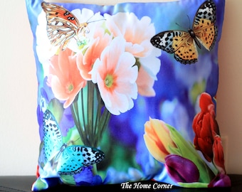 Flower Throw Pillow Cover Spring Decor Summer Decor Flower Butterfly Garden Print Blue Pillow Cover Colorful Cushion Cover 16x16 pillows