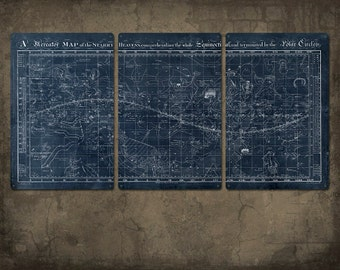 "Vintage Map of the Universe on METAL triptych 48x24""  FREE SHIPPING"