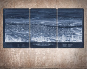 "Vintage Map of Portland METAL Triptych 48x24"" FREE SHIPPING (Blue version)"