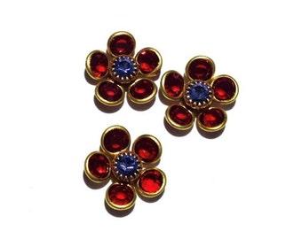4 Swarovski Flower, Siam with Tanzanite Center, Swarovski Beads, 12mm