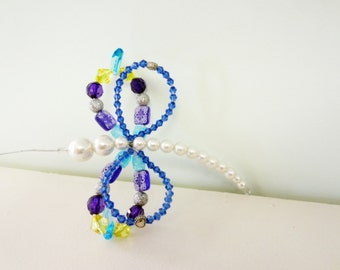 beaded screen saver bug purple blue and turquoise dragonfly butterfly suncatcher