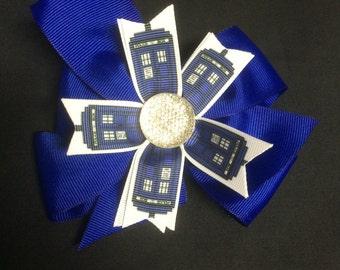 Blue phonebox Medium Pinwheel Hair Bow