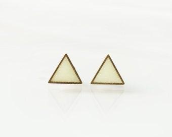 Glow in the dark triangle stud earrings