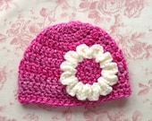Crochet Baby Hat 3 to 6 months. Baby Girl Beanie. Crochet Pink Cream Baby Hat with Cute Flower