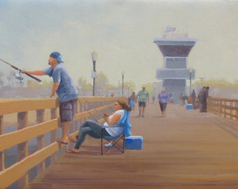Wet - Lines - Fishing - Seal Beach - Pier - Lean In - California - Fisherman - Original Oil Painting - Tower - Dock - Vacation - Relax