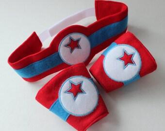 Superhero Belt and Wrist Cuffs - Super Hero Pretend Play - Kids Costume - Dress Up Items