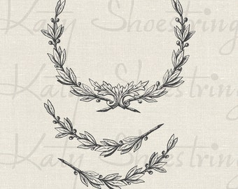 Vintage Wreath and Branch Illustrations Printable Image Digital Collage Sheet Fabric Transfer Wedding Holiday INSTANT DOWNLOAD
