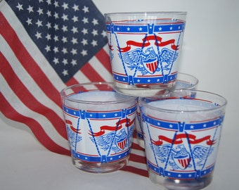 Vintage Red, White, & Blue PATRIOTIC American Eagle Mid Century Four Cocktail Glasses BBQ Party
