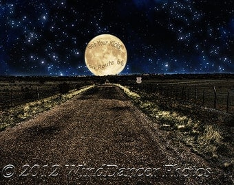 Rt 66 Big Moon, Rt 66, Southwest, Kitsch, Fine Art Photo, 11x14 Matted Photo, Americana, Get Your Kicks on Rt. 66,  Home or Office Decor