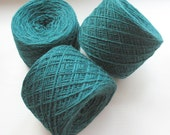 Wool Yarn Green 350 gr 12.2oz skein / 2 ply, each skein contains approximately 1500-1700 yds