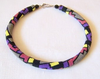 Bead crochet colorful necklace with geometric pattern - colorful geometric necklace - Beadwork - multi color modern art jewelry