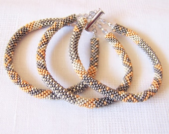Beadwork - 3 Strand Bead Crochet Rope Bracelet in grey, silver and golden colors - beaded jewelry - seed beads bracelet - pastel